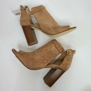 Kamari Booties Brown Stacked Block Heel Zipper